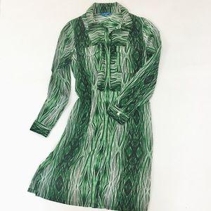 DEREK LAM FOR DesigNation Green Shirt Dress